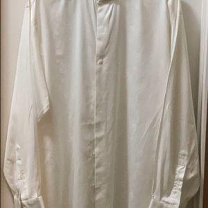 Ivory IKE BEHAR button down shirt size 17.5 / 34